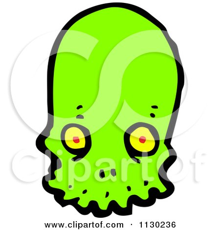 Cartoon Of A Green Alien Skull 3 - Royalty Free Vector Clipart by lineartestpilot