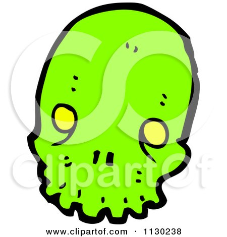Cartoon Of A Green Alien Skull 7 - Royalty Free Vector Clipart by lineartestpilot