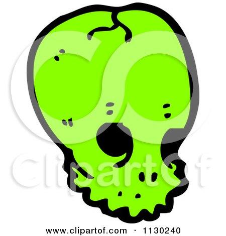 Cartoon Of A Green Alien Skull 5 - Royalty Free Vector Clipart by lineartestpilot