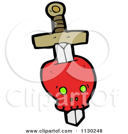 Cartoon Of A Sword Through A Red Skull 1 - Royalty Free Vector Clipart by lineartestpilot
