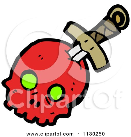 Cartoon Of A Sword Through A Red Skull 2 - Royalty Free Vector Clipart by lineartestpilot