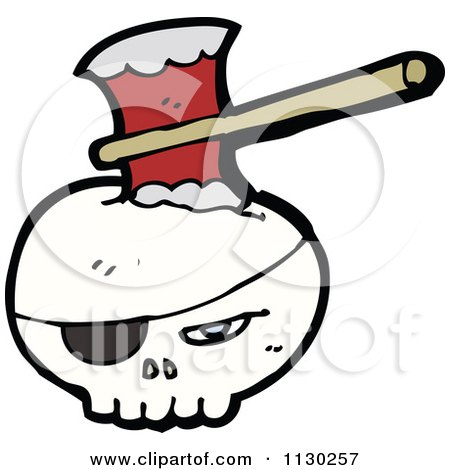 Cartoon Of A Pirate Skull With An Axe - Royalty Free Vector Clipart by lineartestpilot