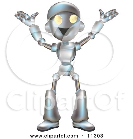 Friendly Futuristic Robot Happily Gesturing With His Arms Up Clipart Illustration by AtStockIllustration