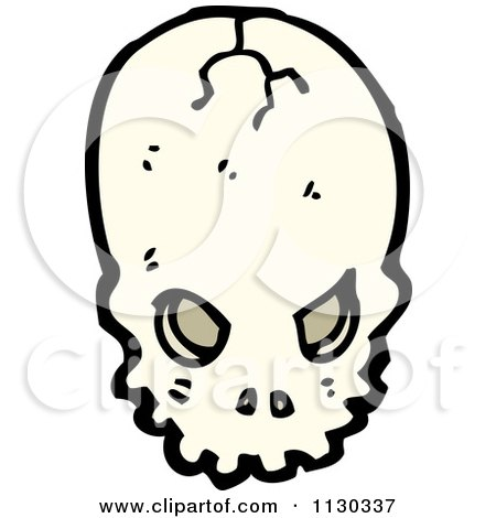Cartoon Of An Alien Skull 2 - Royalty Free Vector Clipart by lineartestpilot