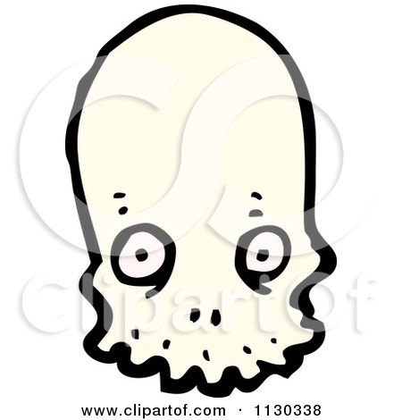 Cartoon Of An Alien Skull 3 - Royalty Free Vector Clipart by lineartestpilot