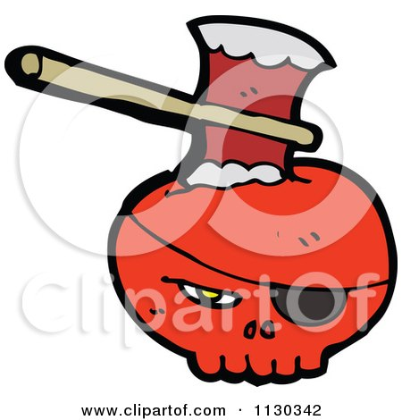 Cartoon Of A Red Pirate Skull With An Axe - Royalty Free Vector Clipart by lineartestpilot