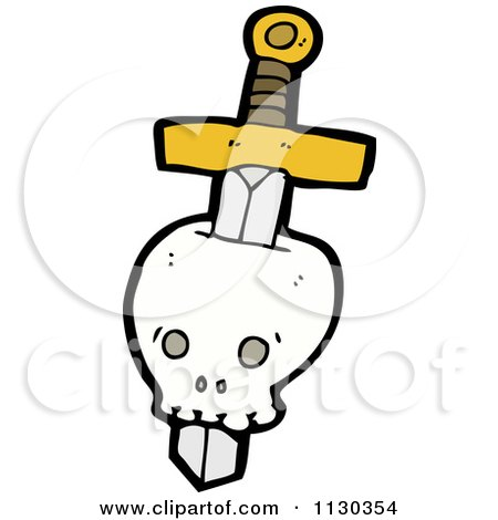 Cartoon Of A Sword Through A Skull 1 - Royalty Free Vector Clipart by lineartestpilot