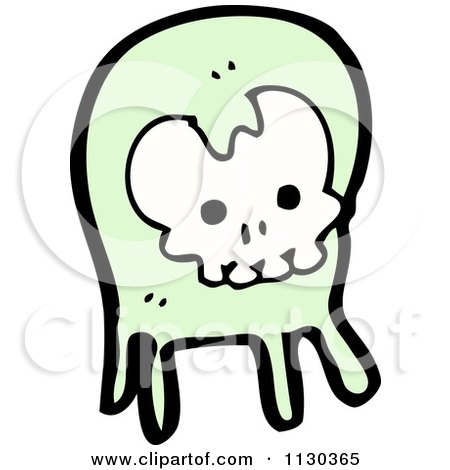 Cartoon Of A Green Skull Ghost 2 - Royalty Free Vector Clipart by lineartestpilot