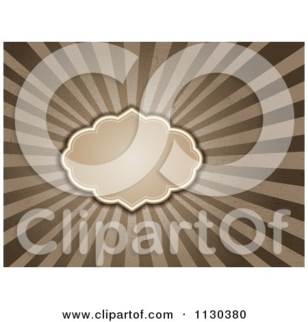 Clipart Of A Retro Frame Over Grungy Brown And Tan Rays - Royalty Free Vector Illustration by KJ Pargeter