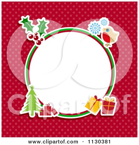 Clipart Cartoon Of A Retro Round Christmas Frame With Items On Red Polka Dots - Royalty Free Vector Illustration by KJ Pargeter