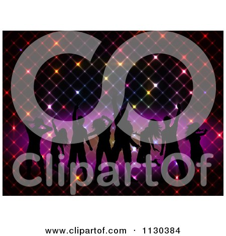 Clipart Of Dancer Silhouettes Over A Grid Of Colorful Lights - Royalty Free Vector Illustration by KJ Pargeter