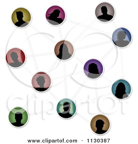 Clipart Of Silhouetted Social Networking Avatar People Connected - Royalty Free Vector Illustration by KJ Pargeter