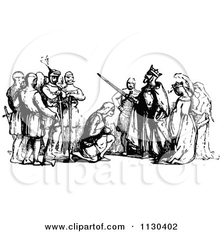 Clipart Of A Retro Vintage Black And White King Knighting A Man - Royalty Free Vector Illustration by Prawny Vintage