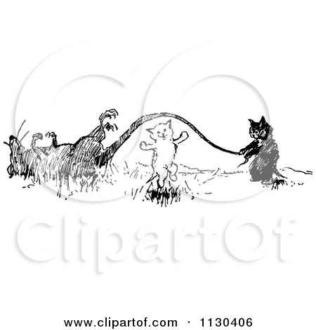 Clipart Of Retro Vintage Black And White Cats Playing Jump Rope With A Dead Rats Tail - Royalty Free Vector Illustration by Prawny Vintage