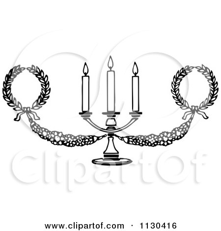 Clipart Of A Retro Vintage Black And White Candelabra And Wreaths - Royalty Free Vector Illustration by Prawny Vintage