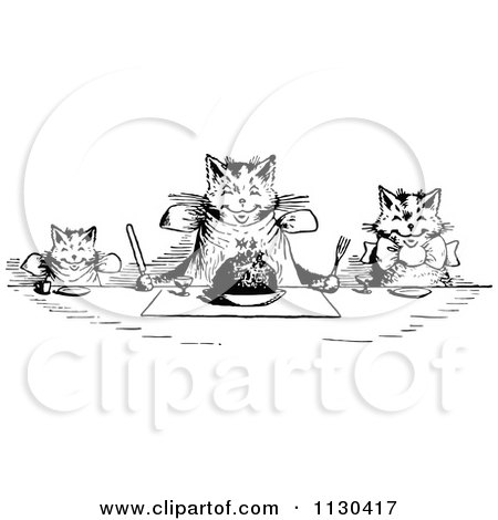 Clipart Of Retro Vintage Black And White Happy Cats Eating At A Table - Royalty Free Vector Illustration by Prawny Vintage