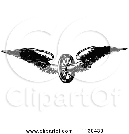 Clipart Of A Retro Vintage Black And White Winged Axle Wheel - Royalty Free Vector Illustration by Prawny Vintage