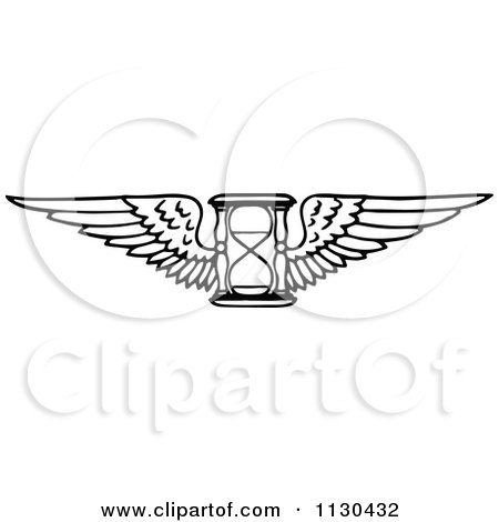 Clipart Of A Retro Vintage Black And White Winged Hourglass - Royalty Free Vector Illustration by Prawny Vintage