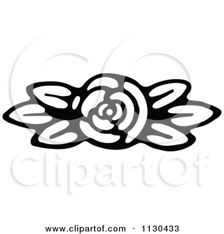Clipart Of A Retro Vintage Black And White Fully Bloomed Rose Royalty Free Vector Illustration
