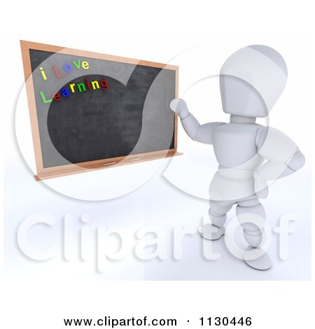Clipart Of A 3d White Character Teacher Presenting A Black Board With I Love Learning Magnets - Royalty Free CGI Illustration by KJ Pargeter