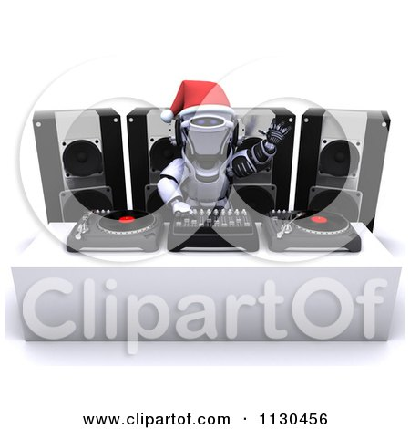 Clipart Of A 3d Robot Dj Mixing Christmas Music - Royalty Free CGI Illustration by KJ Pargeter