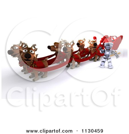 Clipart Of A 3d Santa Robot With Christmas Reindeer And A Sleigh - Royalty Free CGI Illustration by KJ Pargeter