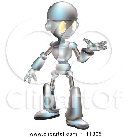 Friendly Futuristic Robot Gesturing With One Hand Posters, Art Prints