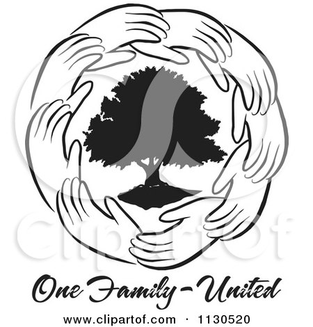 Cartoon Of A Ring Of Hands Around A Black Tree With One Family United Text - Royalty Free Vector Clipart by Johnny Sajem