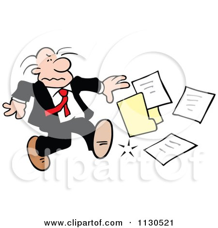 Cartoon Of A Grouchy Businessman Kicking A File - Royalty Free Vector Clipart by Johnny Sajem