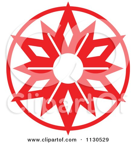 Cartoon Of A Round Red Christmas Star Avatar 1 - Royalty Free Vector Clipart by Zooco