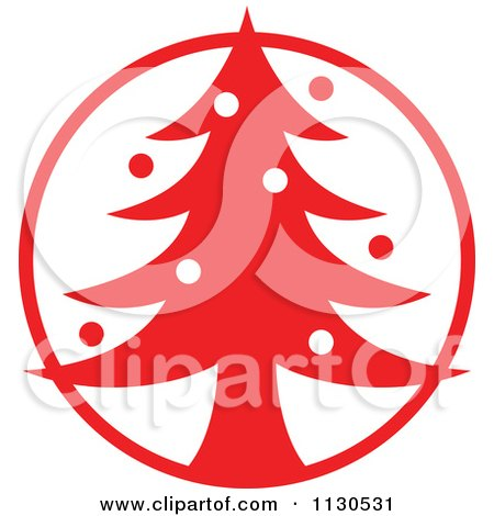 Cartoon Of A Round Red Christmas Tree Avatar - Royalty Free Vector Clipart by Zooco