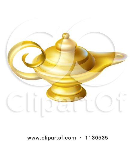 Cartoon Of A Gold Genie Oil Lamp - Royalty Free Vector Clipart by AtStockIllustration
