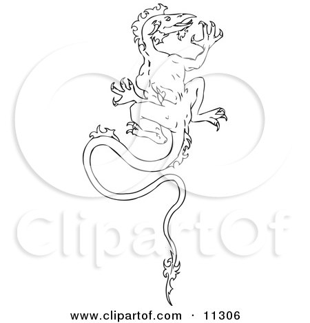 Dragon Climbing A Wall Clipart Illustration