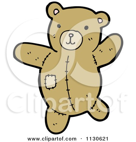 Cartoon Of A Teddy Bear With A Patch - Royalty Free Vector Clipart by lineartestpilot