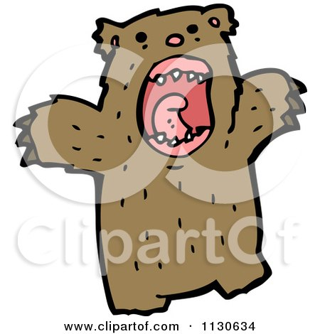 Cartoon Of A Screaming Bear 1 - Royalty Free Vector Clipart by lineartestpilot