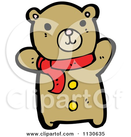 Cartoon Of A Cute Bear Wearing A Scarf And Waving - Royalty Free Vector Clipart by lineartestpilot