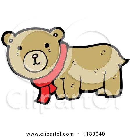 Cartoon Of A Cute Bear Wearing A Scarf - Royalty Free Vector Clipart by lineartestpilot