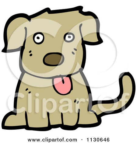 Cartoon Of A Sitting Dog 3 - Royalty Free Vector Clipart by lineartestpilot