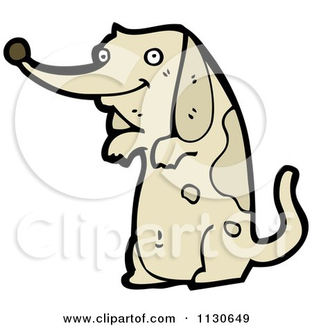 Cartoon Of A Begging Dog 1 - Royalty Free Vector Clipart by lineartestpilot
