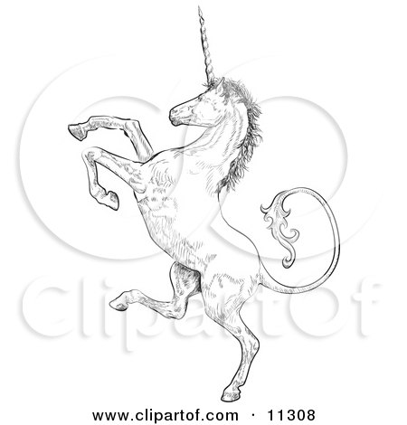 Profile of a Unicorn Rearing up on His Hind Legs Clipart Illustration by AtStockIllustration