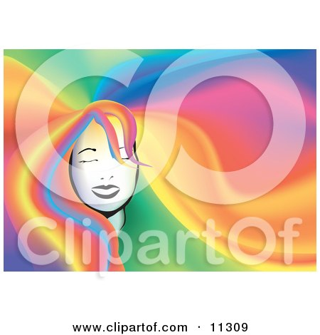 a Woman's Face With Her Long Rainbow Colored Hair Filling the Background Clipart Illustration by AtStockIllustration