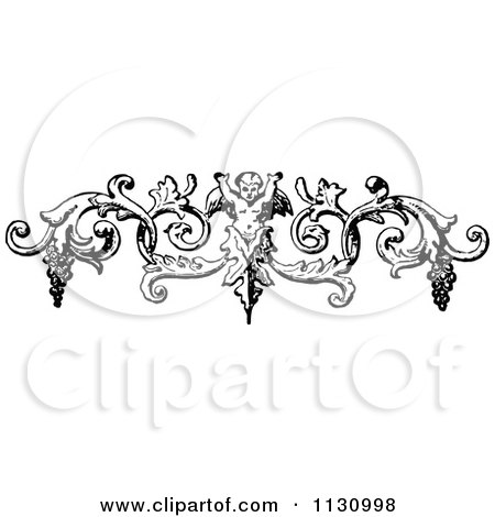 Clipart Of A Retro Vintage Black And White Cherub And Grapes Swirl Border - Royalty Free Vector Illustration by Prawny Vintage