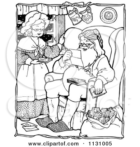 Clipart Of Retro Vintage Black And White Santa And Mrs Claus Reading Letters - Royalty Free Vector Illustration by Prawny Vintage