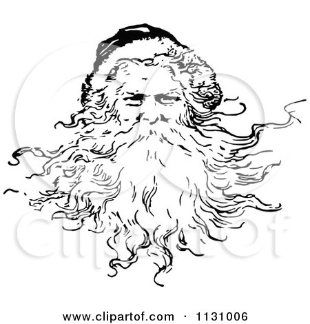 Clipart Of A Retro Vintage Black And White Santa With A Beard - Royalty Free Vector Illustration by Prawny Vintage