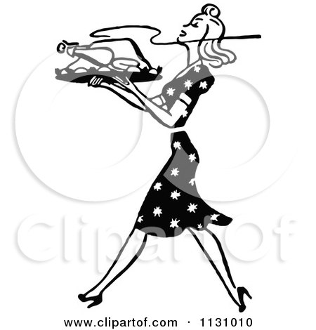 Clipart Of A Retro Vintage Black And White Housewife Carrying A Roasted Turkey - Royalty Free Vector Illustration by Prawny Vintage