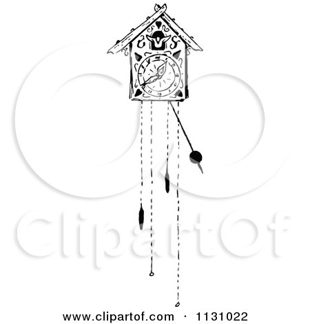 Clipart Of A Retro Vintage Black And White Cuckoo Clock