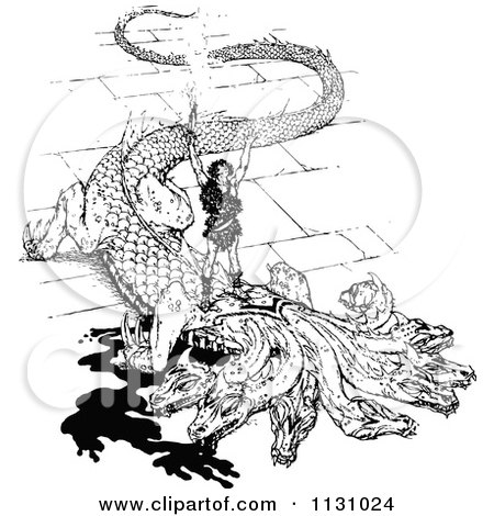 Clipart Of A Retro Vintage Black And White Dragon Slayer - Royalty Free Vector Illustration by Prawny Vintage