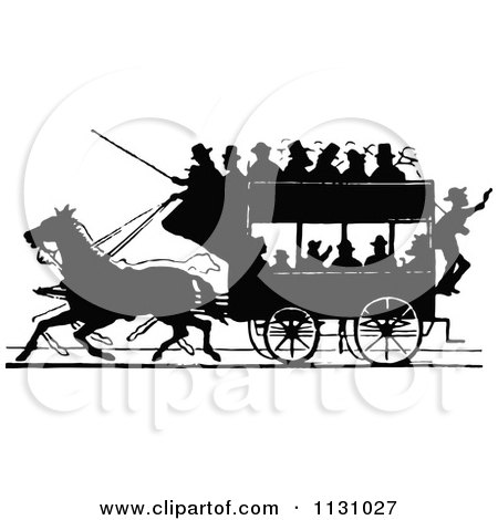 Clipart Of A Retro Vintage Silhouetted Stage Coach And Passengers 1 - Royalty Free Vector Illustration by Prawny Vintage