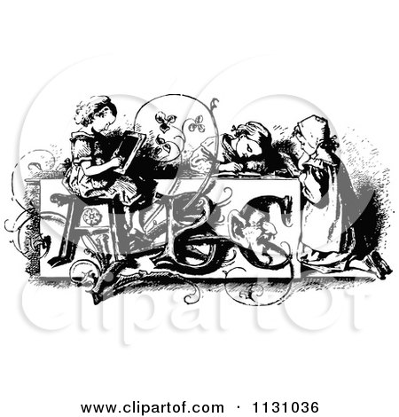 Clipart Of Retro Vintage Black And White Children At An Abc Desk - Royalty Free Vector Illustration by Prawny Vintage