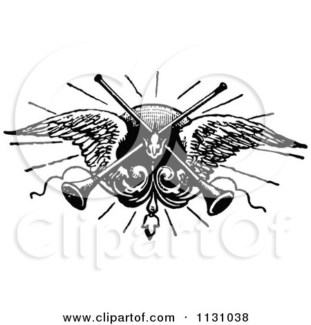 Clipart Of Retro Vintage Black And White Trumpets And Angel Wings - Royalty Free Vector Illustration by Prawny Vintage